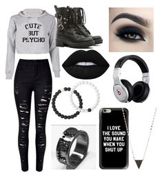 """""""Introvert-ish/ Emo-ish #2"""" by casyneecandy ❤ liked on Polyvore featuring Lokai, WithChic, RED Valentino, Lime Crime, Too Faced Cosmetics, Beats by Dr. Dre and Lana"""