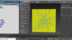 "Thinking Particles using VolumeBreak and Particle Draw to create a Glass Shatter Pattern.  Using a new feature in VolumeBreak ""merge with raster"" when using CELLS for fracturing."