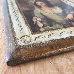 Vintage Italian Florentine Picture Gold Gilt Wood Decoupaged