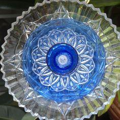 Blue Depression Glass Repurpose Plate Flower by ARTfulSalvage