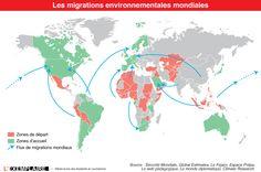 Déplacements climatiques - carte les migrations environnementales mondiales * climate research