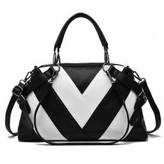 1cc44b6094 Fashion Women Brand Design Handbag High Quality PU Leather Shoulder Bag  Black White Stripe Ladies Dress