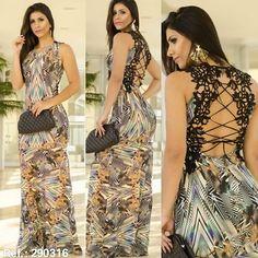 Esse vestido longo com detalhe guipir nas costas, está chiquérrimo!! É para deixar qualquer mulher maravilhosa!  Para mais informações entre em contato pelo nosso WhatsApp: (62) 9678-0660  #almoxaryfe #fashion #vestidolongo #outonoinverno2016 #moda #lookdodia #goianiacapitaldamoda