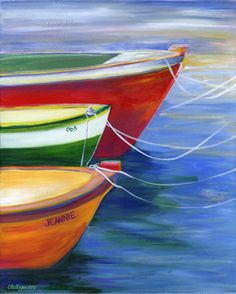 """""""GONE FISHIN"""" w/ Jeannette Stutzman - Art on the Brix---If doing something similar, remember to skew one of the outer boats for visual/mental interest Simple Oil Painting, Boat Painting, Painting & Drawing, Wine And Canvas, Boat Art, Easy Paintings, Oil Paintings, Pictures To Paint, Painting Techniques"""