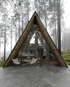Una cabaña de ensueño en Lake Tahoe, California A Frame House Plans, A Frame Cabin, Tiny House Plans, Cabin In The Woods, Lost In The Woods, Architecture Visualization, Architecture Design, Architecture Sketchbook, Cabin Design
