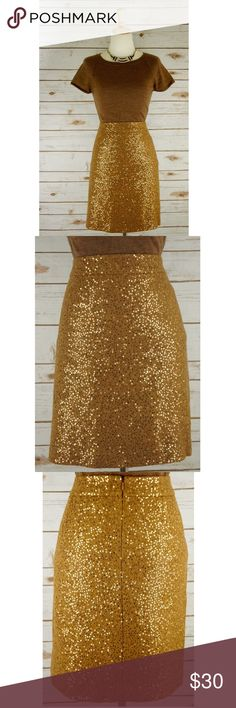 """Ann Taylor Loft Gold Sequin Mini Skirt Ann Taylor Loft Gold Mini Sequin Skirt. A BRAND NEW WITH TAGS Mini Skirt. The skirt is in perfect condition: No rips, stains or tears. The skirt is fully lined, no pockets and no missing sequins. PRICE FIRM           Length: 20.0"""" waist: 18.5"""" (across) hips: 21.5"""" (across) Material: 68% rayon, 37% wool, Lining: 100% polyester LOFT Skirts Mini"""