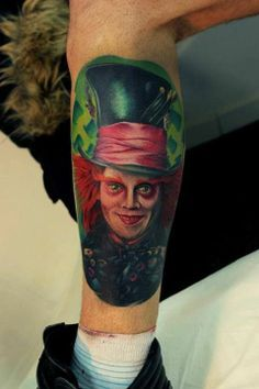 Mens Leg With Charlie Chocolate Factory. I Think? Fake Tattoo, Demon Tattoo, Sick Tattoo, Leg Tattoo Men, Arm Tattoos For Guys, Trendy Tattoos, Forearm Tattoos, Love Tattoos, Tatoos