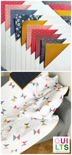 """A beautiful and modern free quilt pattern """"screenshotablepattern"""" by @broadclothstudio + a photo binding tutorial on how to close your binding strips. Have a look at these tutorial Modern Quilt Patterns, Patchwork Patterns, Quilt Patterns Free, Triangle Quilt Pattern, Triangle Quilts, Quilting Projects, Quilting Designs, Quilt Binding Tutorial, Snowball Quilts"""