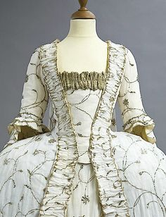 1770s Embroidered court gown (auctioned by Christie's) front detail