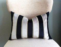 Velvet Pillow Cover, Black Silver pillow. Oblong Lumbar Pillows 14x20, stripe velvet pillow, home decor