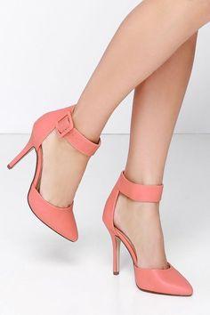 My Delicious Aveta Salmon Ankle Strap Heels