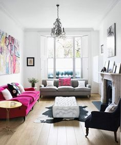 Color--in the form of hot pink in a room of neutrals.
