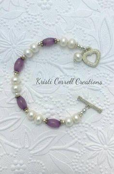 Elegant button freshwater pearls and lavender jade bracelet.