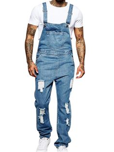 Latest Price of Fashion Denim Overalls Men One Piece Full Length Ripped Jeans Men Slimming Casual Men Jeans Pants Straight Pantalon Homme Jean Best Price Moda Jeans, Lässigen Jeans, Ripped Jeans Men, Casual Jeans, Jeans Style, Men Casual, Denim Overalls, Denim Pants