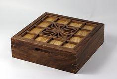 'Asa no ha' jewellery box. The olive ash has a complementary palette to the Walnut . #vipulfinefurniture #woodworking #kumiko #jewellery #jewelry #walnut