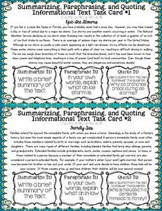 Summarizing and paraphrasing powerpoint worksheets middle school
