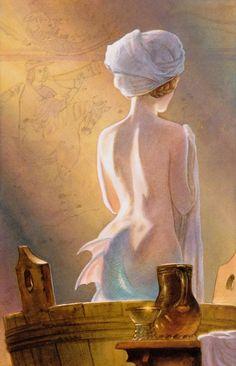 My favorite painting of Melusine, a fairy ancestor of Elizabeth Woodville. Image by John Howe Elizabeth Woodville, Mythical Creatures, Sea Creatures, John Howe, Mermaids And Mermen, Merfolk, Sea Monsters, Mermaid Art, Figure Painting