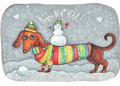 Dachshund in a suit with a snowman - New Year Art Print by cococinema - X-Small Dog Christmas Pictures, Christmas Dog, Christmas Humor, Christmas Dachshund, Merry Christmas, Arte Dachshund, Dachshund Love, Daschund, New Year Greeting Cards