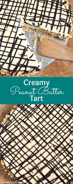 Creamy Peanut Butter Tart ... yum! Peanut butter and chocolate combine in an easy dessert recipe that's impossible to resist! Like a pie, only better, this no bake tart recipe is sure to be a hit on your family's table! | Hello Little Home