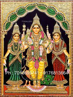 Original hand made tanjore paintings Kerala Mural Painting, Tanjore Painting, Indian Art Paintings, Lord Murugan Wallpapers, Ganesh Photo, Ganesh Idol, Lord Shiva Family, Baba Image, Baby Silhouette