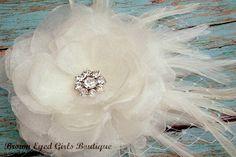 Ivory Bridal Flower Hair clip, Wedding Hair Accessory, Fascinator, Organza, Jewel, Bridal Head Piece. $40.00, via Etsy.