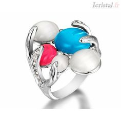 Bague en alliage plaqué or blanc et pierres yeux de chat multicolore forme rond Plaque, Silver Jewelry, Gemstone Rings, Crystal Ring, Gemstones, Crystals, Gold Plating, White Gold, Stones