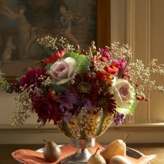 vignette design: Autumn Eye Candy And A Garden Arrangement Fall Floral Arrangements, Beautiful Flower Arrangements, Floral Centerpieces, Beautiful Flowers, Candle Arrangements, Tall Centerpiece, Wedding Centerpieces, Deco Floral, Arte Floral