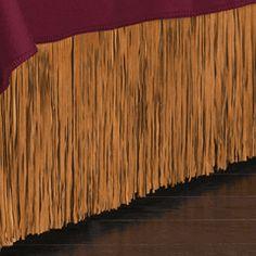 Suede Fringed Bedskirt - King ** but so expensive Western Bedding, Extra Bedroom, Inside Design, Valance Curtains, The Originals, Bedskirts, House, Guest Room, Boudoir