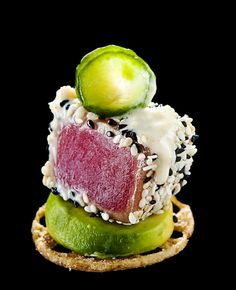 Seared Tuna with Avocado, Citrus and Lotus Root - Recipe #plating #presentation