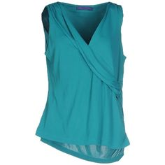 Blue Les Copains T-shirt ($130) ❤ liked on Polyvore featuring tops, t-shirts, turquoise, pocket tee, jersey t shirts, blue jersey, v neck pocket tee and sleeveless t shirt