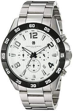 Men's Wrist Watches - CharlesHubert Paris Mens 3977W Premium Collection Analog Display Japanese Quartz Silver Watch -- You can find more details by visiting the image link.