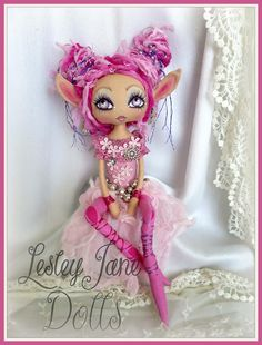 Fabula Skarth Deluxe Pink Pixie Collectable Cloth Art Doll by Lesley Jane Dolls