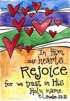 Items similar to Psalm 33 Hearts Rejoice Bible Verse Illustrated Watercolor Print on Etsy