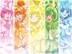 Lucky,sunny,peace,spring, and brease glitter force