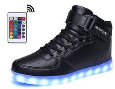 d49de6fb8 MOHEM ShinyNight High Top LED Shoes Light Up USB Charging Flashing  Sneakers1687003Black37     Check