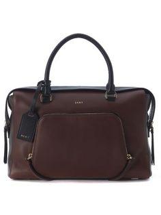 DKNY Borsa A Mano Large Dkny In Pelle Rosso Bordeaux E Nero. #dkny #bags # #