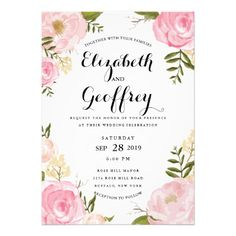 Romantic pink watercolor floral wedding invitations with roses and peonies.   ♥ See matching products at http://www.zazzle.com/gifts?cg=196055103700846056&sr=250355889926209051&ch=jujulili&ps=120&rf=238252963030229232&tc=wpz ♥