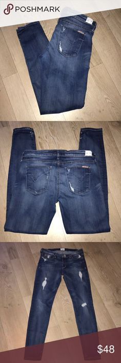 """HUDSON Krista Super Skinny Jeans EUC - Krista Super Skinny Destroyed Jeans - Ankle/Cropped 😍😍  Tick marks & destruction are all factory made.  No stains.  Machine washed & hung to dry. 92.5% Cotton 5% Polyester 2.5% Lycra  I LOVE these jeans, SOOO COMFY, but need them in a 27...so, a hunting I will go!! 🙃🙃  Measurements (lying flat): Waist 14.5"""" Hips 17"""" Rise 8"""" Inseam 29"""" Leg opening 5"""" Hudson Jeans Jeans Skinny"""
