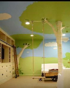 32 Things That Belong In Your Child's Dream Room A giant beanstalk for a kid's playroom. // 32 Things That Belong In Your Child's Dream Room The post 32 Things That Belong In Your Child's Dream Room appeared first on Homemade Crafts. Indoor Tree House, Indoor Trees, Swing Indoor, Indoor Playground, Playground Ideas, Inside Playground, Indoor Outdoor, Outdoor Decor, Deco Kids