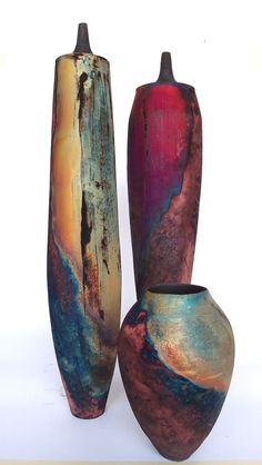 I love the slim lines and the height of these raku vessels. This copper matte raku is by Tim Betts at the Raku Garden in Povlja. Raku Pottery, Pottery Sculpture, Pottery Art, Kintsugi, Earthenware, Stoneware, Sculptures Céramiques, Keramik Vase, Paperclay