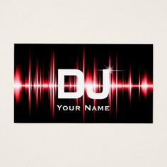 Dj business card dj business cards pinterest dj business cards dj modern red beats professional deejay music business card reheart Gallery