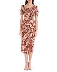 B459V Jason Wu Abstract-Print Cold-Shoulder Dress