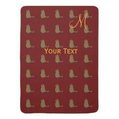 Custom Golden Bird Pattern Red Monogram Baby Blankets