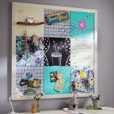 Hopefully going to try this out. Get a tackboard and cover with fabric, small whiteboard, etc. then frame. So cute!