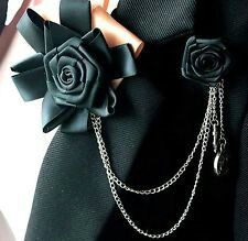 Black Champagne Rose Ribbon Mens Wedding Groom Accessories Shows Bow Tie Brooch Black Corsage, Gold Corsage, Tuxedo Bow Tie, Black Bow Tie, Wedding Clip, Wedding Men, Wedding Groom, Creative Black Tie, Clip On Bow Ties
