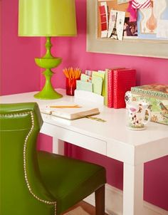 Crisp, white table with loads of bright colors makes for an on-point created Sassy styled office.