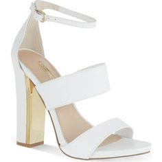 Gossip high-heeled sandals ($165) ❤ liked on Polyvore featuring shoes, sandals, heels, high heels, sapatos, white, faux leather sandals, carvela shoes, block heel shoes and white high heel shoes
