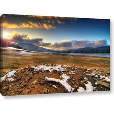 ArtWall Dragos Dumitrascu The Winter Sun Gallery-wrapped Canvas Art, Size: 16 x 24, Blue