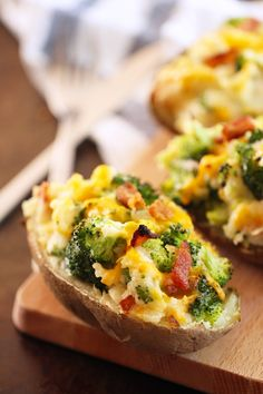 Twice-Baked Potatoes with Bacon, Broccoli, and Cheddar