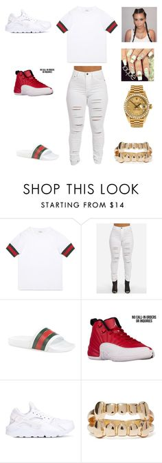 """""""bored"""" by aleisharodriguez ❤ liked on Polyvore featuring Gucci, NIKE and Rolex"""